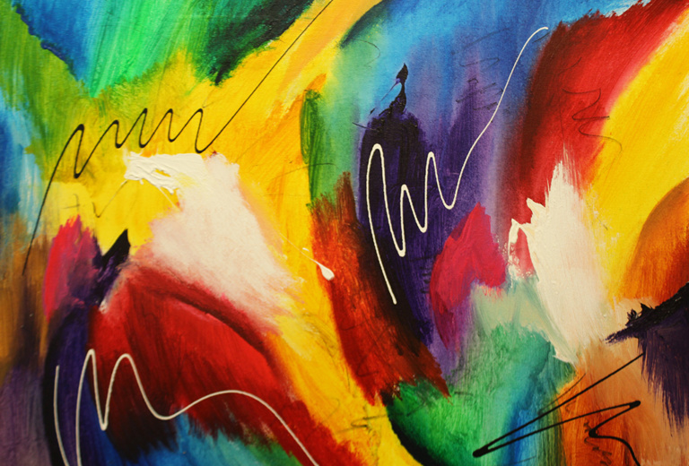 "Dick Wills Fine Art - original colorful abstract art - therapeutic art- inspirational art -Celebrate Colors - P5 28"" X 24"" SOLD"