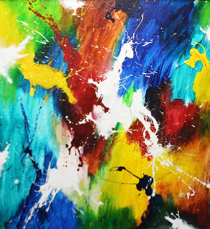 "Dick Wills Fine Art - original colorful abstract art - therapeutic art- inspirational art -Celebrate Colors - P2 30""x 30"" $250"
