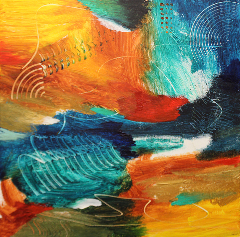 "Dick Wills Fine Art - original colorful abstract art - therapeutic art- inspirational art -Celebrate Colors - P7 20"" X 20"" $120"