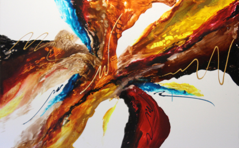 "Dick Wills Fine Art - original colorful abstract art - therapeutic art- inspirational art -Celebrate Colors - CF25 48"" x 30"" $400"